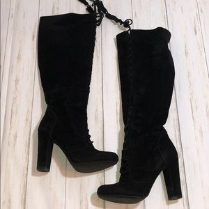 Tall lace up velvet boots